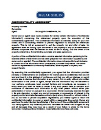 confidentiality agreement boston commercial real estate mclaughlin investments